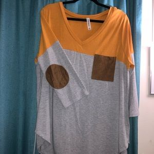 Zenena Mustard top with elbow patch